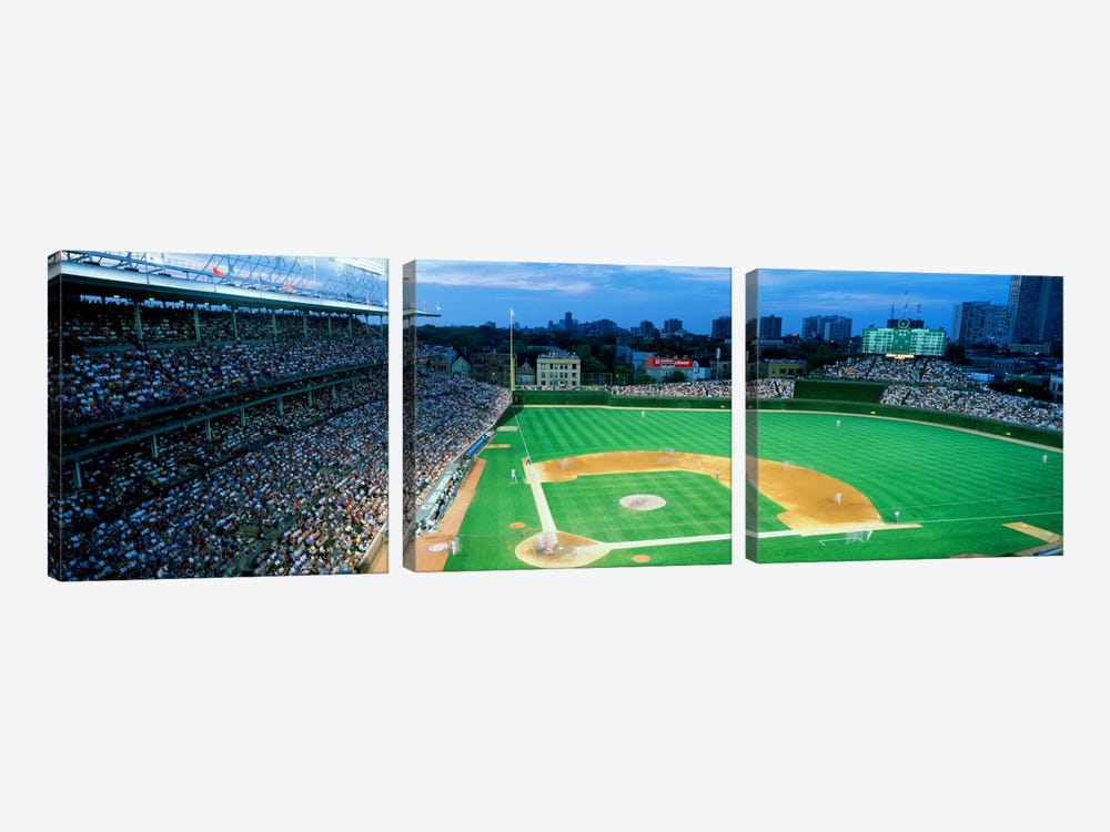 High angle view of spectators in a stadium, Wrigley Field, Chicago Cubs, Chicago, Illinois, USA by Panoramic Images 3-piece Canvas Print