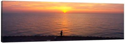 Sunset over a lake, Lake Michigan, Chicago, Cook County, Illinois, USA Canvas Print #PIM1797