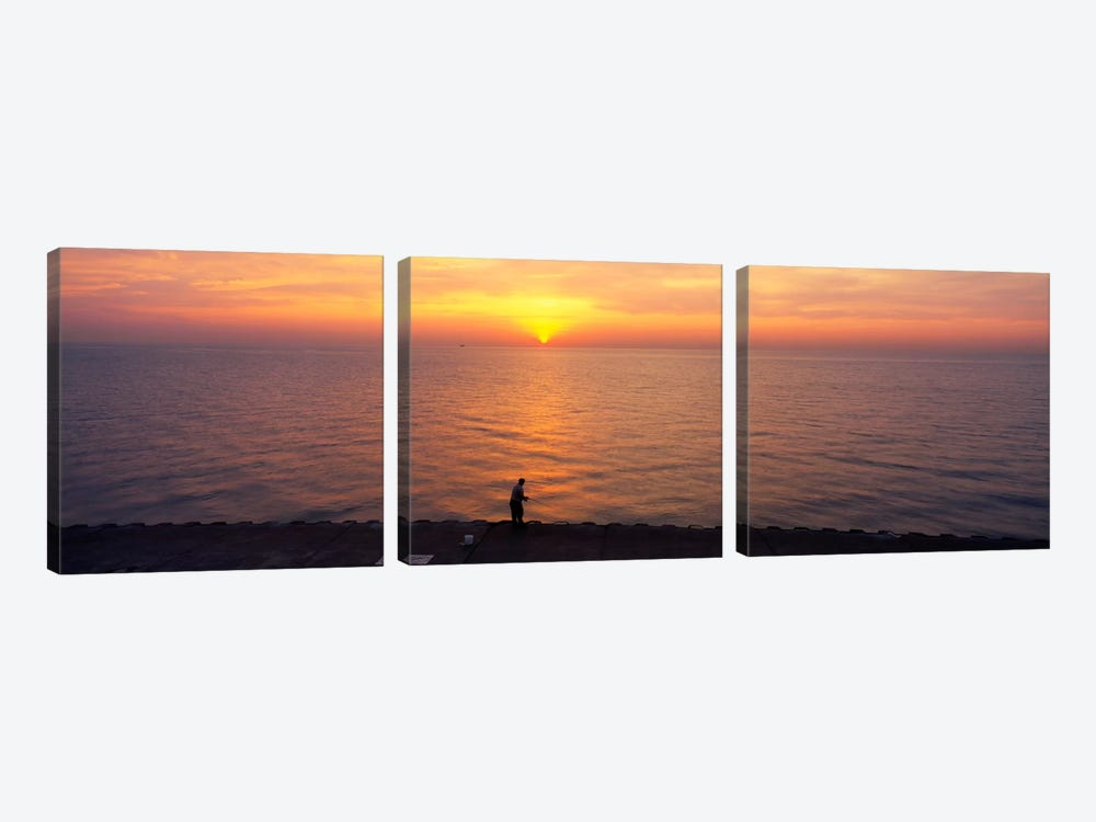 Sunset over a lake, Lake Michigan, Chicago, Cook County, Illinois, USA by Panoramic Images 3-piece Art Print