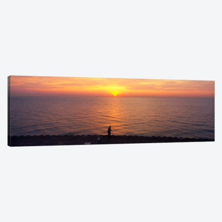 Sunset over a lake, Lake Michigan, Chicago, Cook County, Illinois, USA Canvas Print #PIM1797} by Panoramic Images Canvas Art