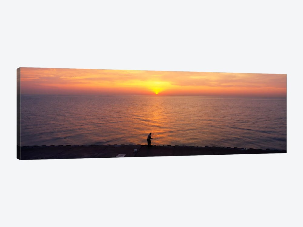 Sunset over a lake, Lake Michigan, Chicago, Cook County, Illinois, USA by Panoramic Images 1-piece Art Print