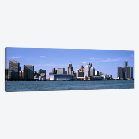 Buildings at the waterfront, Detroit, Wayne County, Michigan, USA Canvas Print #PIM1798} by Panoramic Images Canvas Art Print