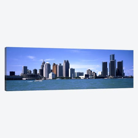 Buildings at the waterfront, Detroit, Wayne County, Michigan, USA #2 Canvas Print #PIM1799} by Panoramic Images Canvas Print