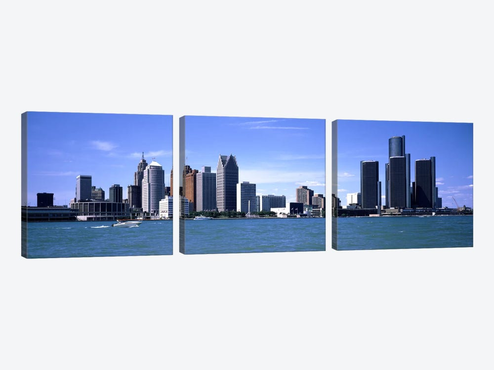 Buildings at the waterfront, Detroit, Wayne County, Michigan, USA #2 by Panoramic Images 3-piece Canvas Art Print