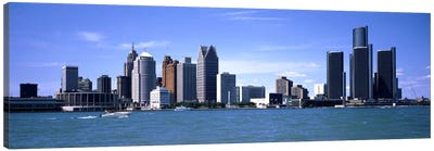 Buildings at the waterfront, Detroit, Wayne County, Michigan, USA #2 Canvas Art Print