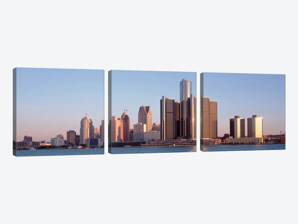 Buildings in a city, Detroit, Michigan, USA by Panoramic Images 3-piece Canvas Art Print