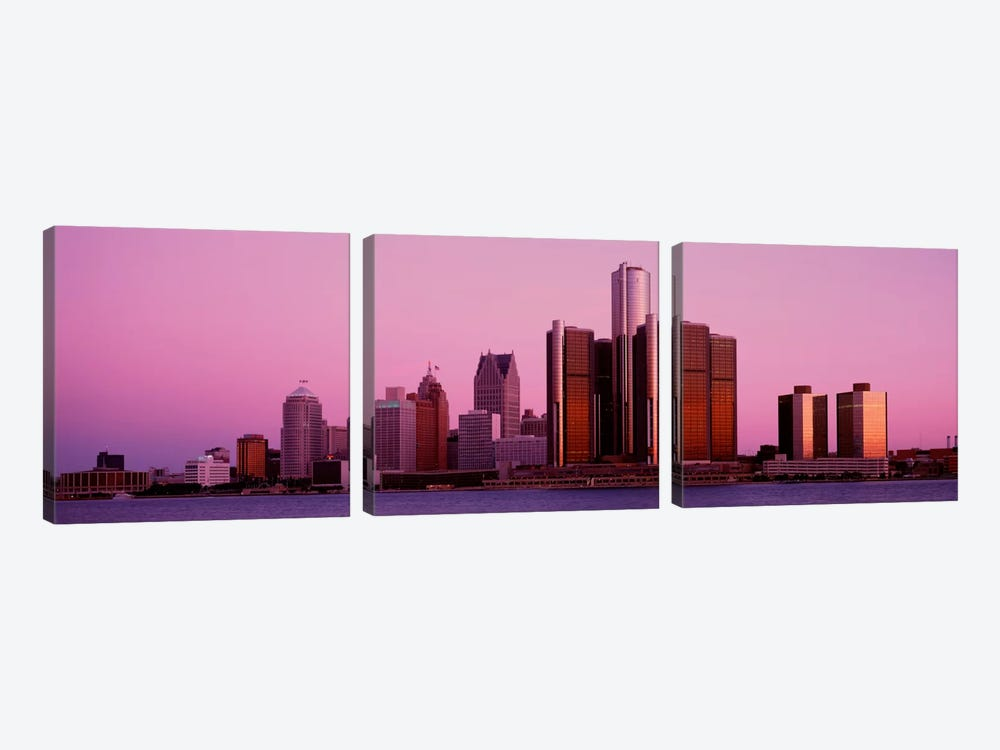 Buildings in a cityDetroit, Michigan, USA by Panoramic Images 3-piece Canvas Artwork
