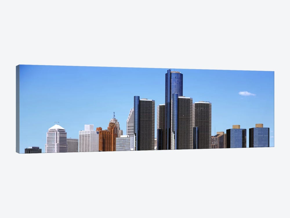 Skyscrapers in a city, Detroit, Wayne County, Michigan, USA by Panoramic Images 1-piece Canvas Print