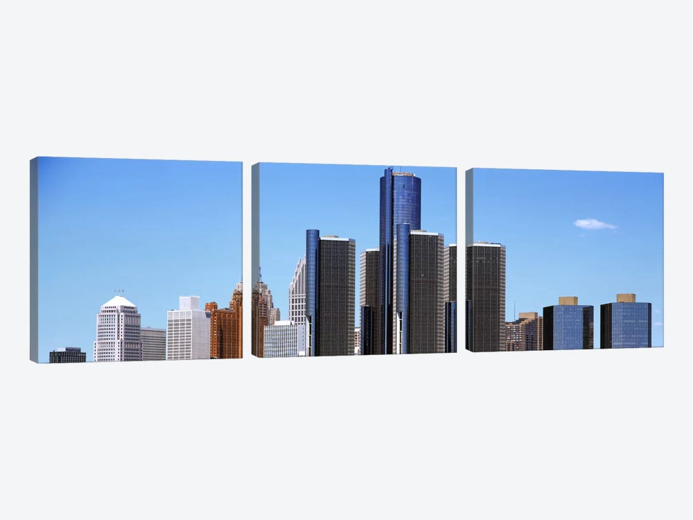 Skyscrapers in a city, Detroit, Wayne County, Michigan, USA by Panoramic Images 3-piece Canvas Art Print