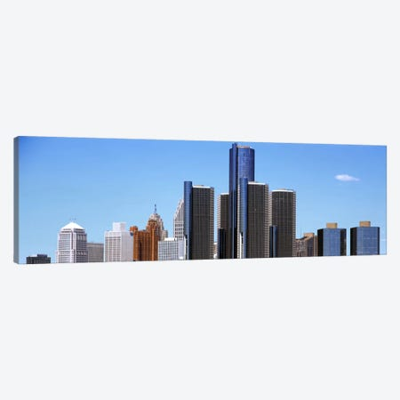 Skyscrapers in a city, Detroit, Wayne County, Michigan, USA 3-Piece Canvas #PIM1802} by Panoramic Images Canvas Art Print