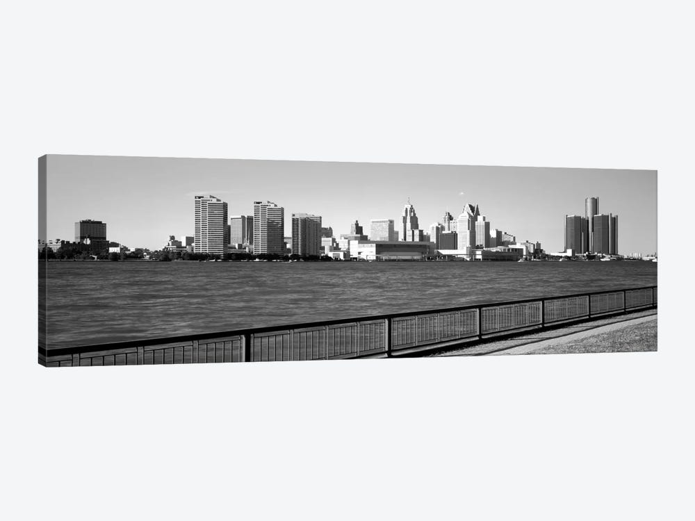 Buildings at the waterfront, Detroit, Wayne County, Michigan, USA #3 by Panoramic Images 1-piece Canvas Artwork