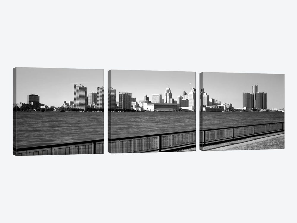 Buildings at the waterfront, Detroit, Wayne County, Michigan, USA #3 by Panoramic Images 3-piece Canvas Artwork