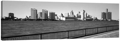 Buildings at the waterfront, Detroit, Wayne County, Michigan, USA #3 Canvas Art Print