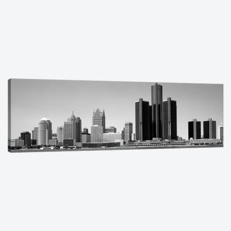 Skyscrapers In The City, Detroit, Michigan, USA 3-Piece Canvas #PIM1804} by Panoramic Images Canvas Art