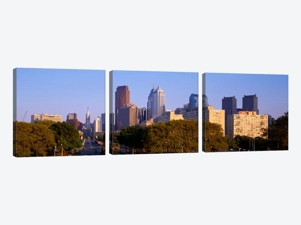 Skyscrapers in a city, Philadelphia, Pennsylvania, USA by Panoramic Images 3-piece Canvas Wall Art