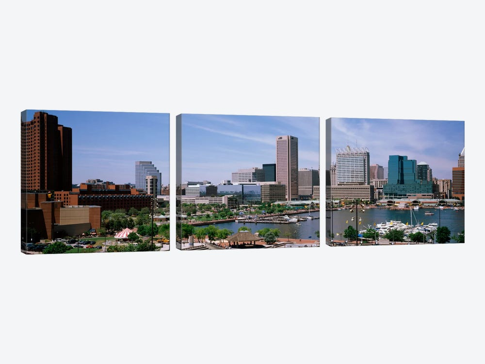 USA, Maryland, Baltimore, High angle view of Inner Harbor by Panoramic Images 3-piece Canvas Print