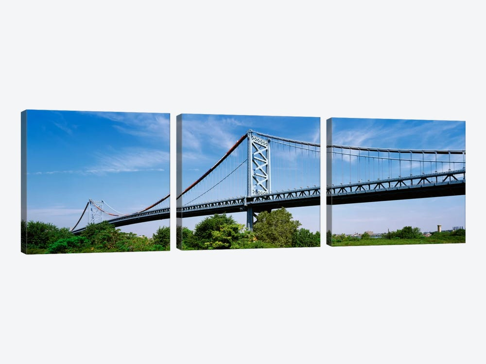 USA, Philadelphia, Pennsylvania, Benjamin Franklin Bridge over the Delaware River by Panoramic Images 3-piece Canvas Art