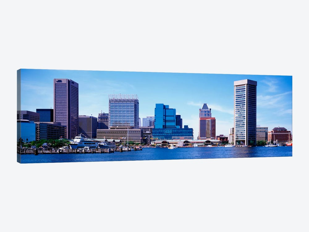 USA, Maryland, Baltimore, Skyscrapers along the Inner Harbor by Panoramic Images 1-piece Canvas Wall Art