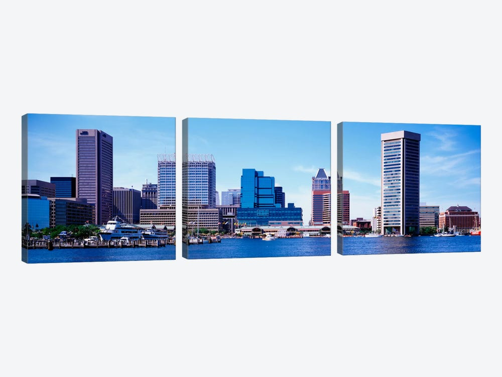 USA, Maryland, Baltimore, Skyscrapers along the Inner Harbor by Panoramic Images 3-piece Canvas Wall Art