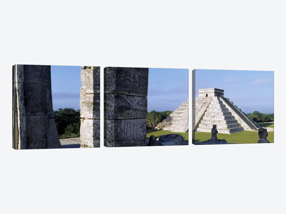 El Castillo (Temple Of Kukulcan), Chichen Itza, Yucatan, Mexico by Panoramic Images 3-piece Canvas Wall Art