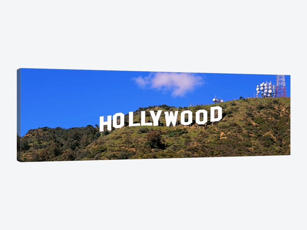 Low angle view of a Hollywood sign on a hill, City Of Los Angeles, California, USA by Panoramic Images 1-piece Canvas Print