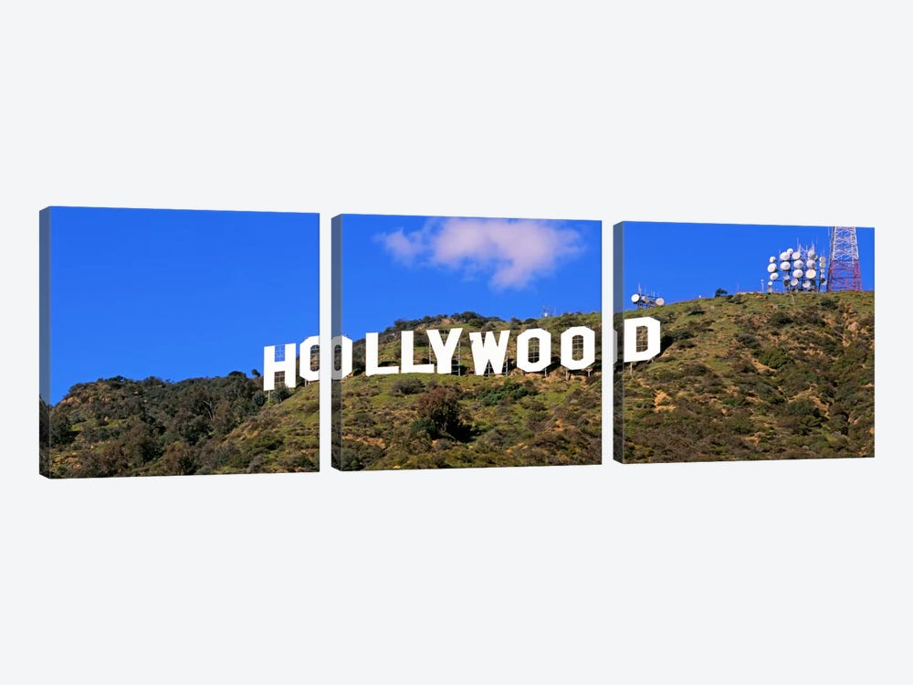 Low angle view of a Hollywood sign on a hill, City Of Los Angeles, California, USA by Panoramic Images 3-piece Canvas Art Print
