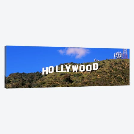 Low angle view of a Hollywood sign on a hill, City Of Los Angeles, California, USA Canvas Print #PIM1815} by Panoramic Images Canvas Art Print