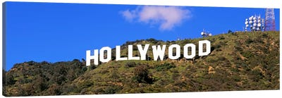 Low angle view of a Hollywood sign on a hill, City Of Los Angeles, California, USA Canvas Art Print