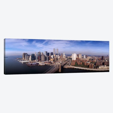 Aerial view of Brooklyn Bridge & Manhattan skylineNew York City, New York State, USA Canvas Print #PIM1819} by Panoramic Images Canvas Wall Art