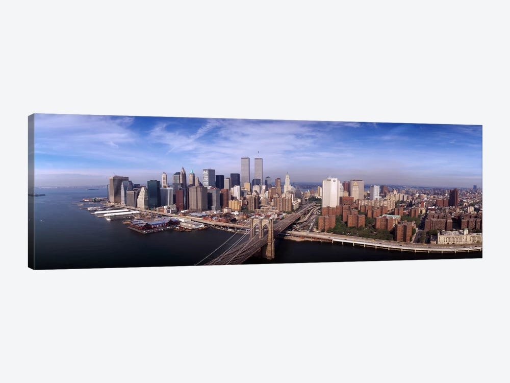 Aerial view of Brooklyn Bridge & Manhattan skylineNew York City, New York State, USA by Panoramic Images 1-piece Canvas Print