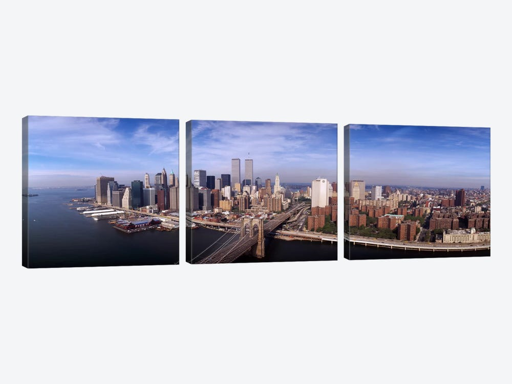 Aerial view of Brooklyn Bridge & Manhattan skylineNew York City, New York State, USA by Panoramic Images 3-piece Art Print