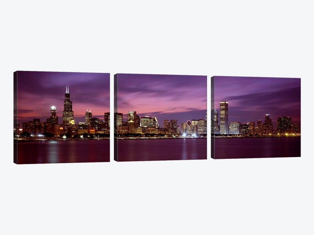 Downtown Skyline, Chicago, Illinois, USA by Panoramic Images 3-piece Canvas Wall Art