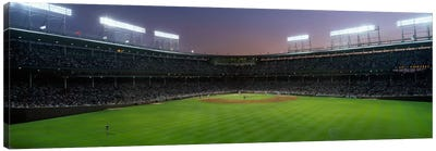 Spectators watching a baseball match in a stadium, Wrigley Field, Chicago, Cook County, Illinois, USA Canvas Art Print