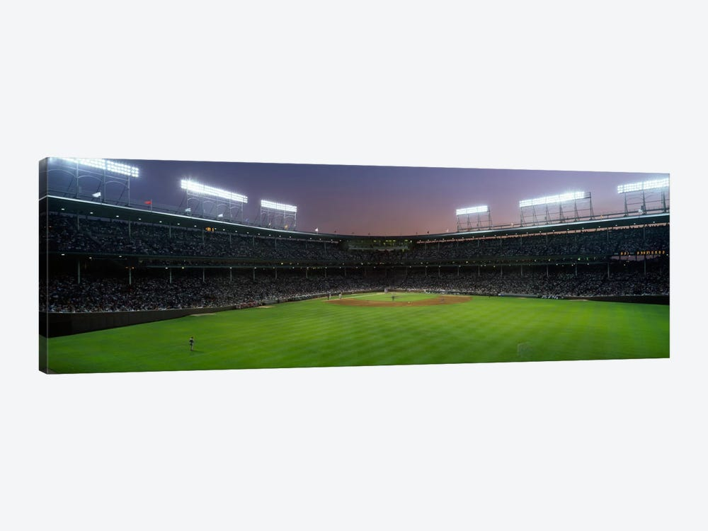 Spectators watching a baseball match in a stadium, Wrigley Field, Chicago, Cook County, Illinois, USA by Panoramic Images 1-piece Canvas Wall Art