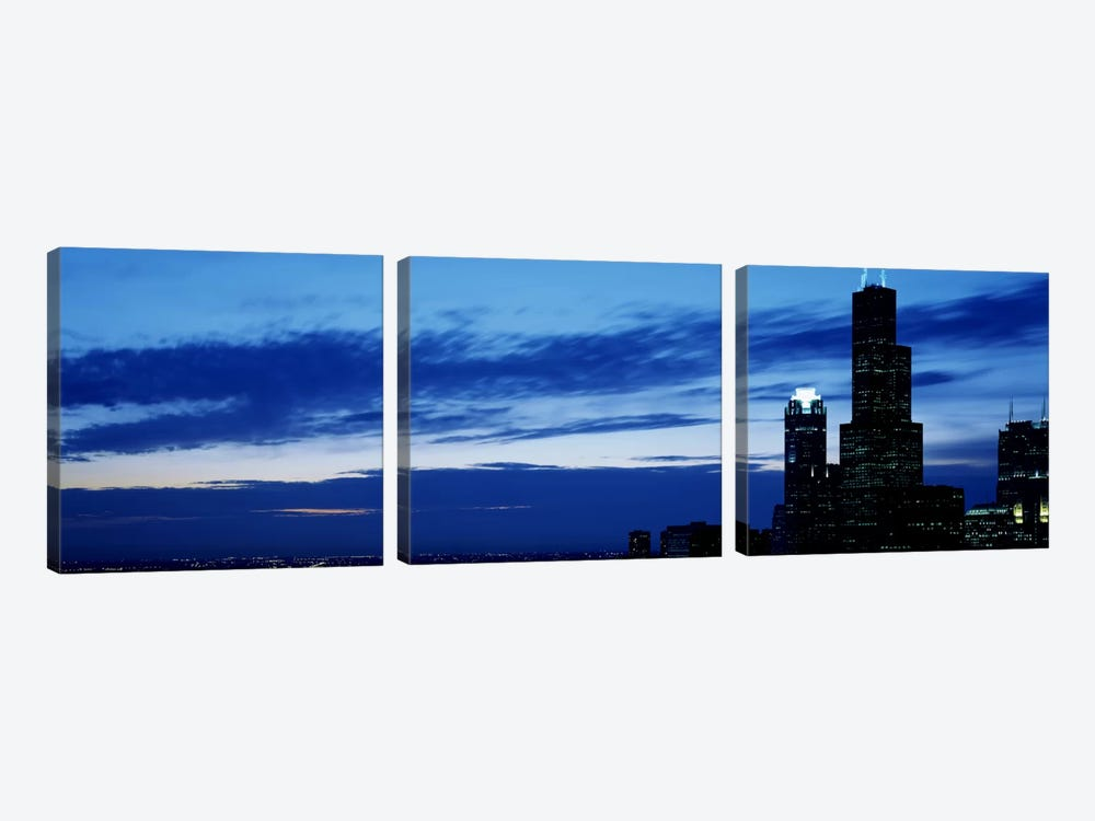 Buildings in a city, Sears Tower, Chicago, Cook County, Illinois, USA by Panoramic Images 3-piece Canvas Art