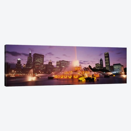 Buckingham Fountain At Night, Chicago, Illinois, USA Canvas Print #PIM1835} by Panoramic Images Art Print