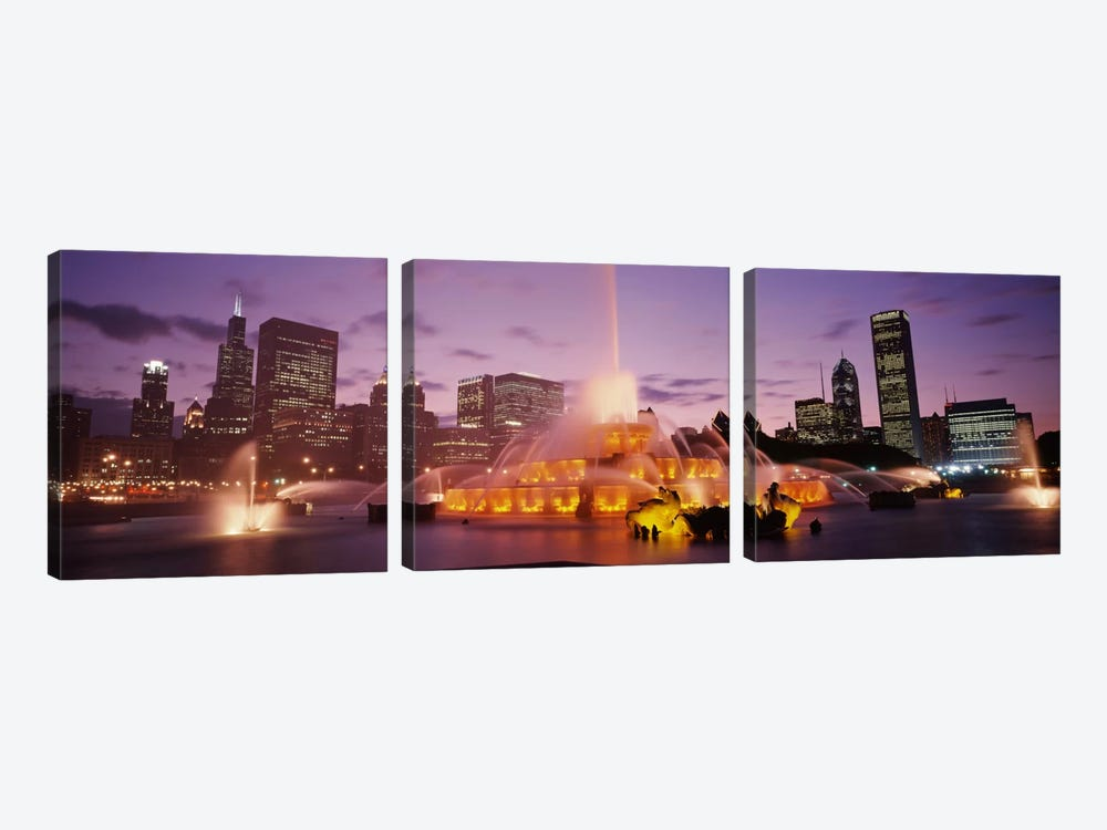 Buckingham Fountain At Night, Chicago, Illinois, USA by Panoramic Images 3-piece Art Print