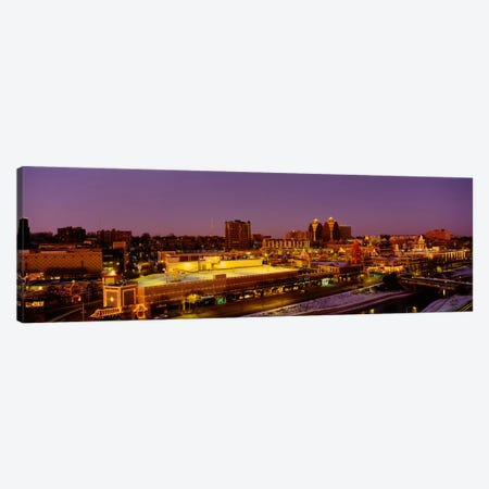 High angle view of buildings lit up at dusk, Kansas City, Missouri, USA Canvas Print #PIM1837} by Panoramic Images Canvas Print