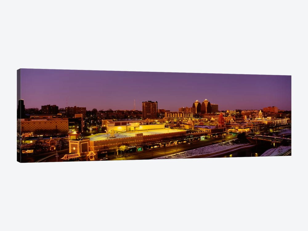 High angle view of buildings lit up at dusk, Kansas City, Missouri, USA by Panoramic Images 1-piece Canvas Art Print