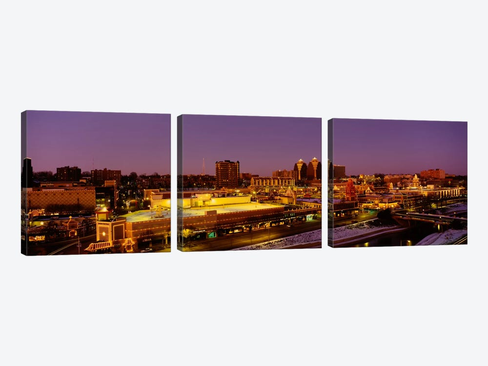 High angle view of buildings lit up at dusk, Kansas City, Missouri, USA by Panoramic Images 3-piece Canvas Art Print
