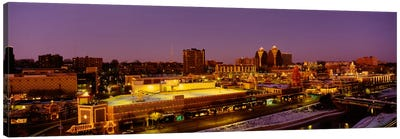 High angle view of buildings lit up at dusk, Kansas City, Missouri, USA Canvas Art Print