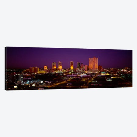 High angle view of skyscrapers lit up at night, Dallas, Texas, USA Canvas Print #PIM1838} by Panoramic Images Canvas Wall Art