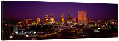High angle view of skyscrapers lit up at night, Dallas, Texas, USA Canvas Art Print