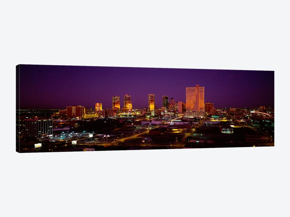 High angle view of skyscrapers lit up at night, Dallas, Texas, USA by Panoramic Images 1-piece Canvas Wall Art