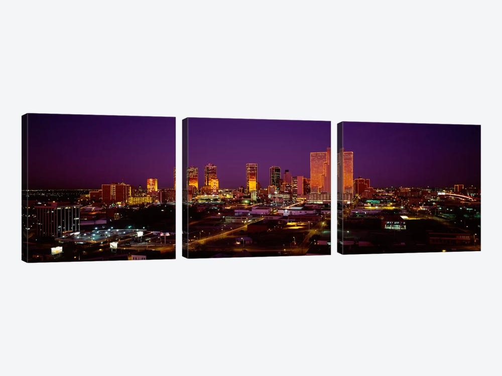 High angle view of skyscrapers lit up at night, Dallas, Texas, USA by Panoramic Images 3-piece Canvas Wall Art