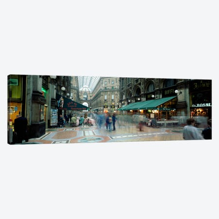 Bluured Motion Of Shoppers, Galleria Vittorio Emanuele II, Milan, Lombardy, Italy Canvas Print #PIM183} by Panoramic Images Canvas Print