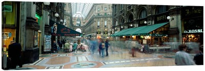 Bluured Motion Of Shoppers, Galleria Vittorio Emanuele II, Milan, Lombardy, Italy Canvas Art Print