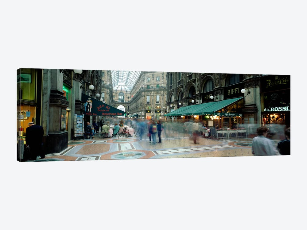 Bluured Motion Of Shoppers, Galleria Vittorio Emanuele II, Milan, Lombardy, Italy 1-piece Canvas Wall Art