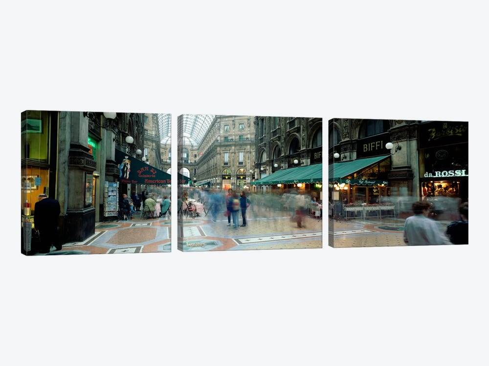 Bluured Motion Of Shoppers, Galleria Vittorio Emanuele II, Milan, Lombardy, Italy by Panoramic Images 3-piece Canvas Artwork