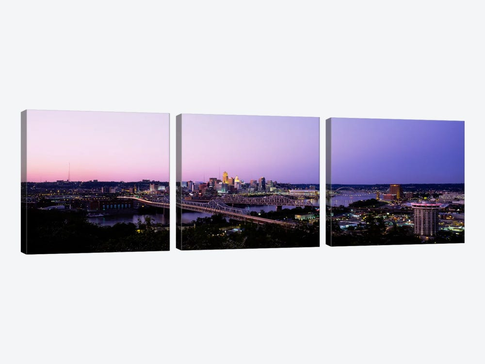 Skyscrapers in a cityCincinnati, Ohio, USA by Panoramic Images 3-piece Canvas Art Print